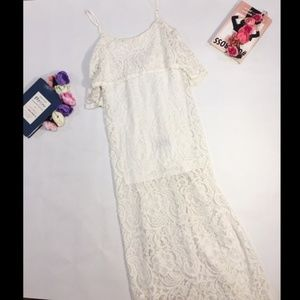 Ark & Co white lace ruffle maxi dress size S